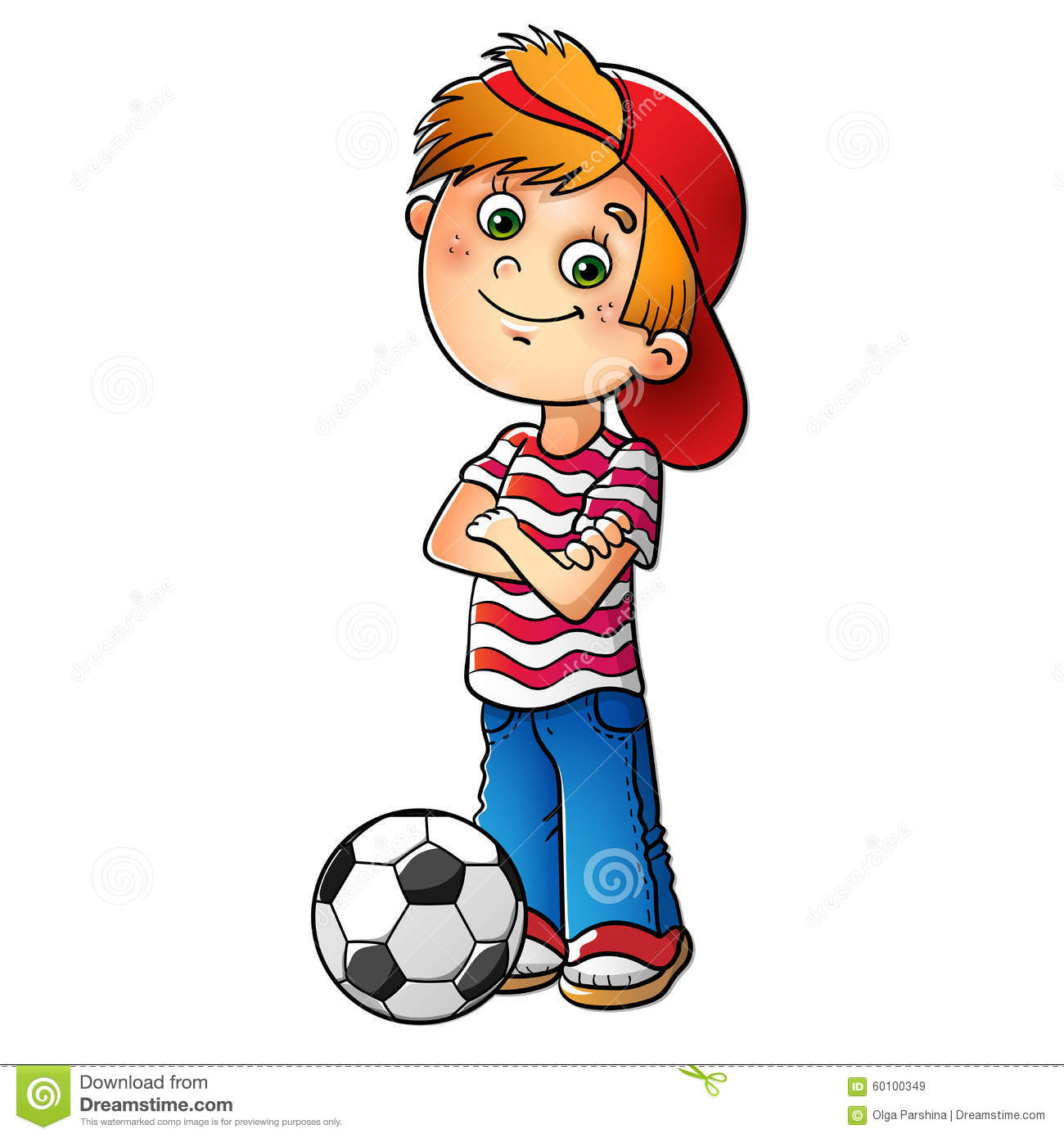 boy in a red cap with a soccer ball stock vector
