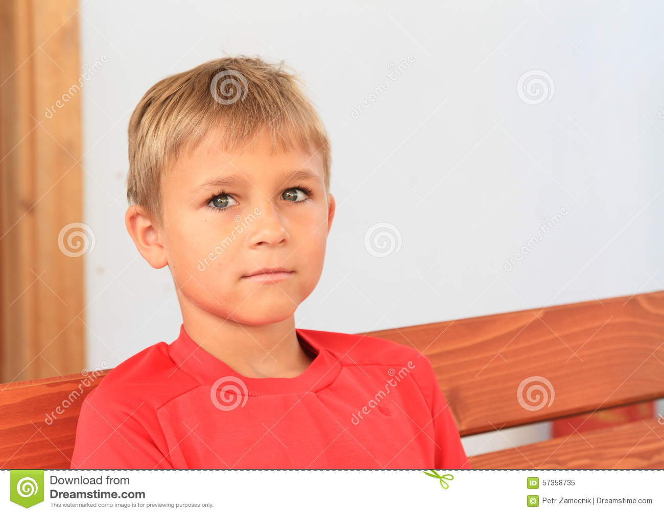 Boy In Red T-shirt Stock Photo - Image: 57358735