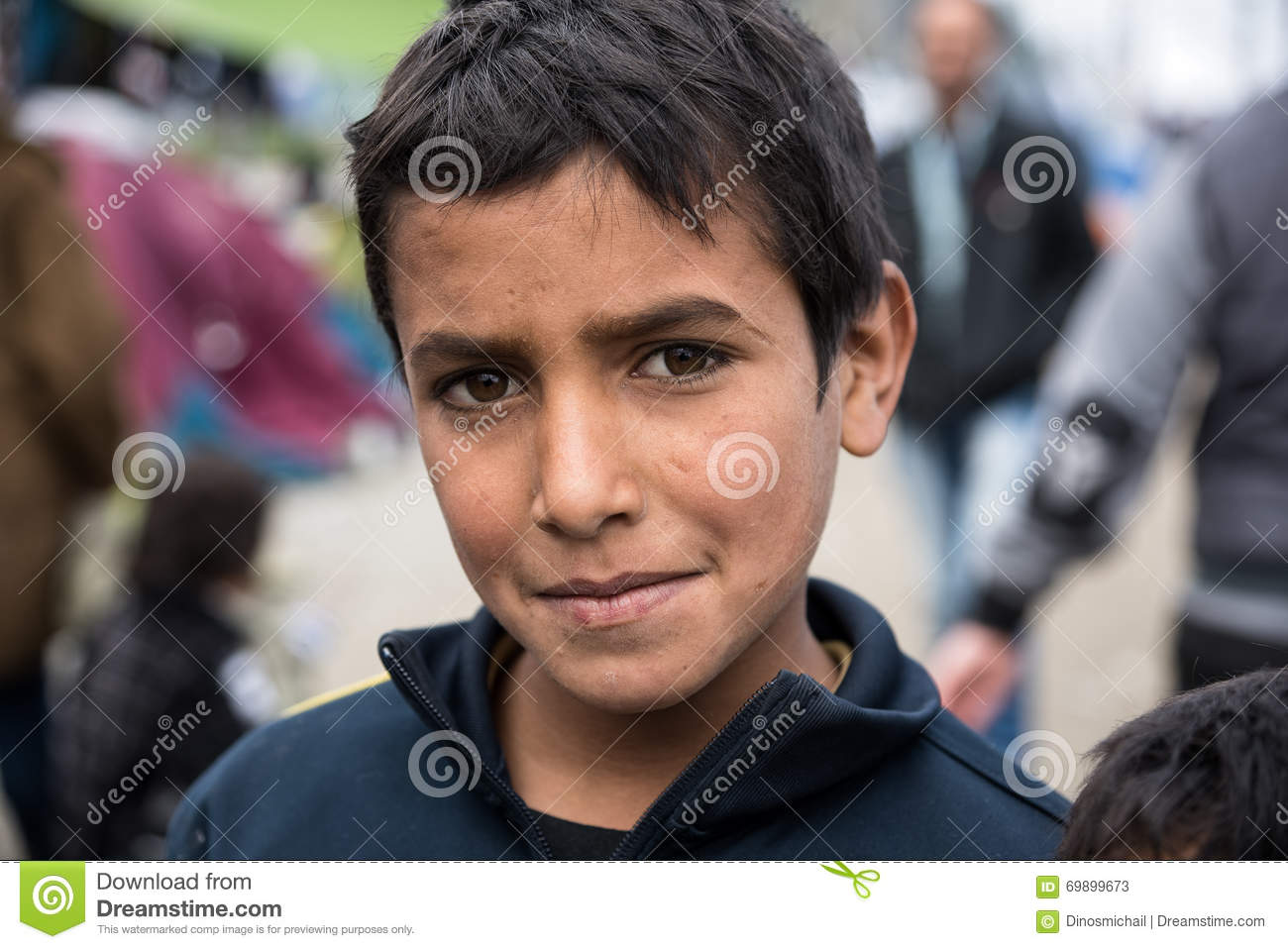 Boy in refugee camp in Greece