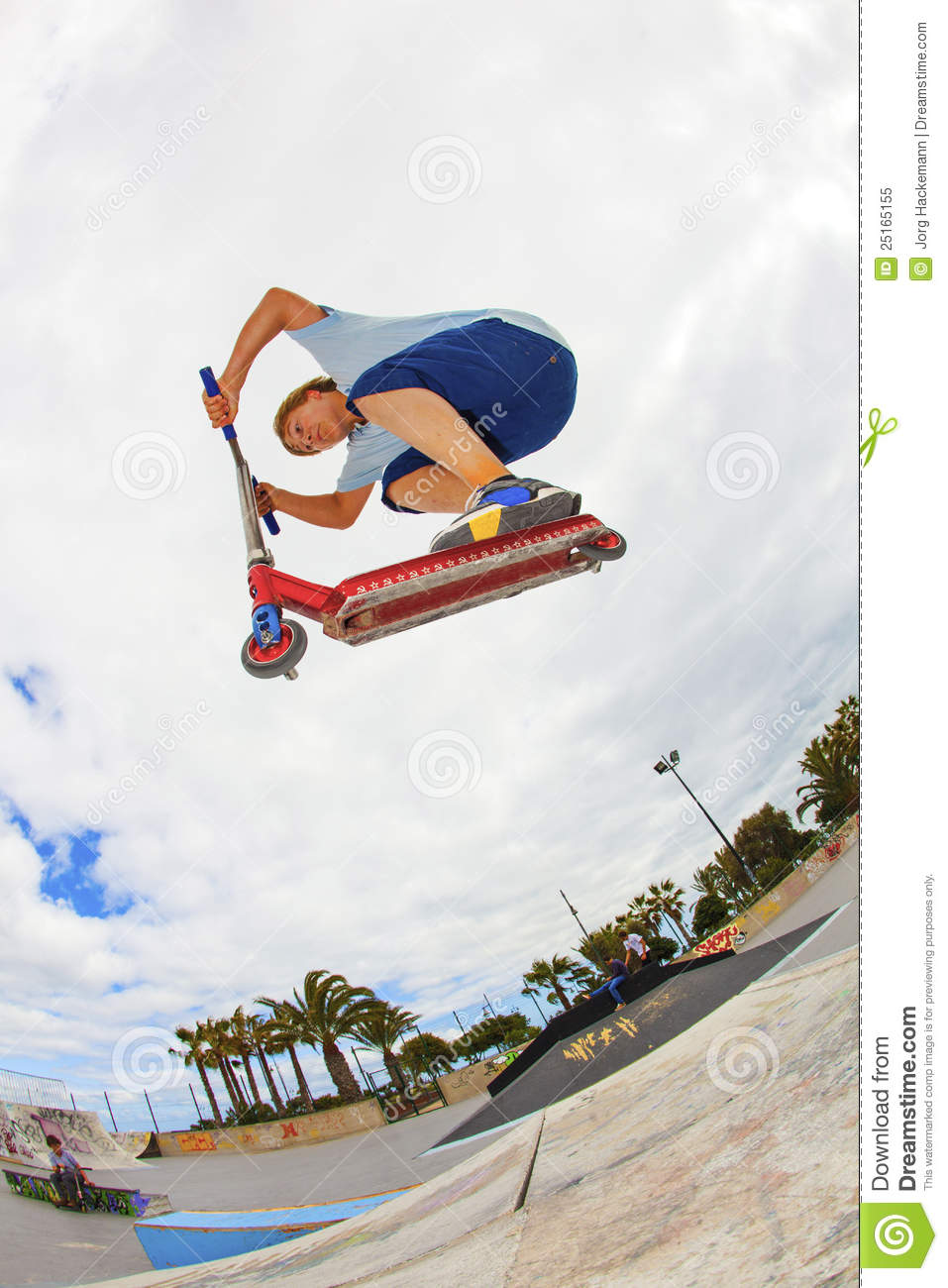 boy rides his scooter at the skate park royalty free stock photo image 25165155. Black Bedroom Furniture Sets. Home Design Ideas