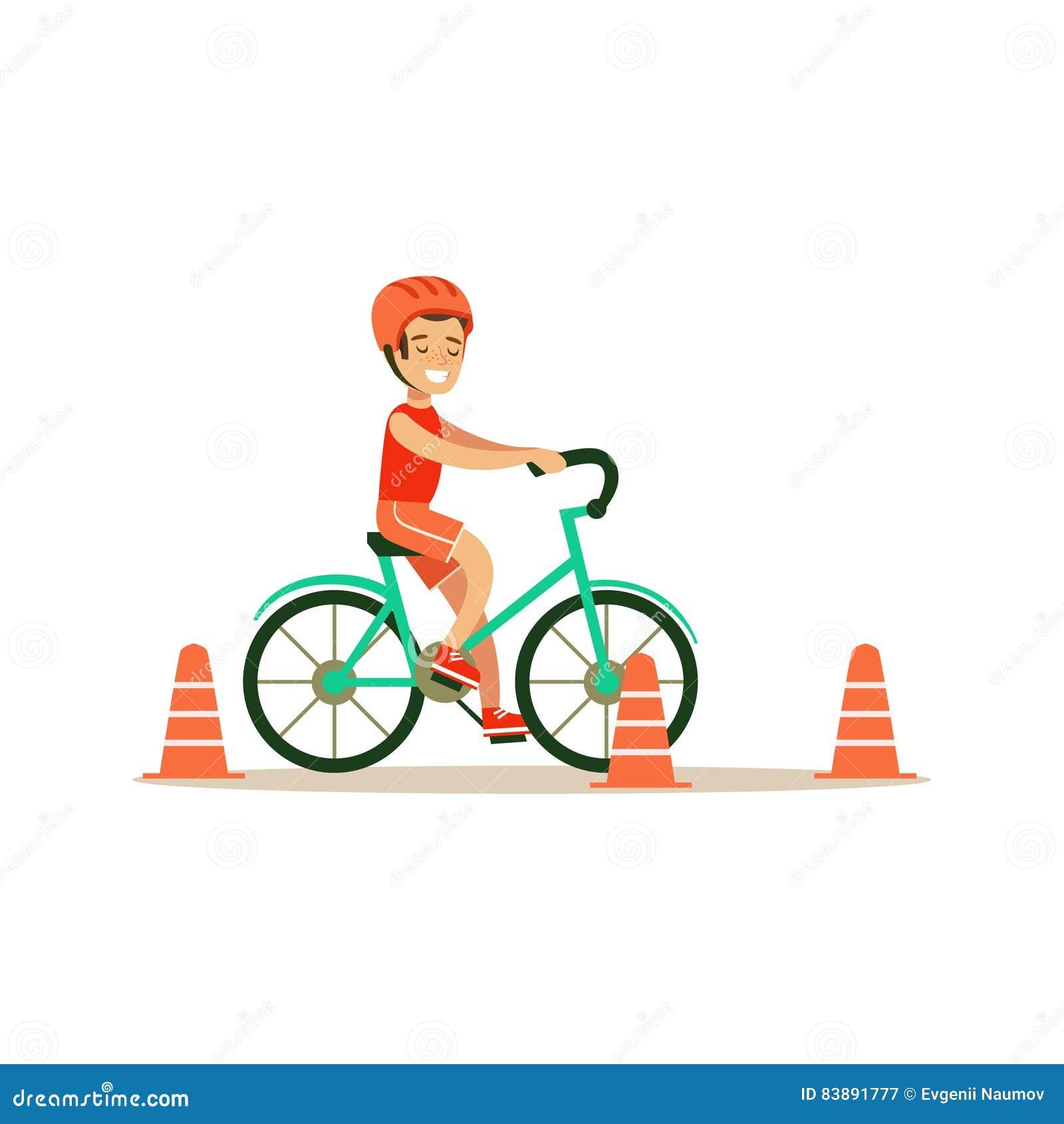 Cartoon Kid Riding Bicycle Stock Illustration ...