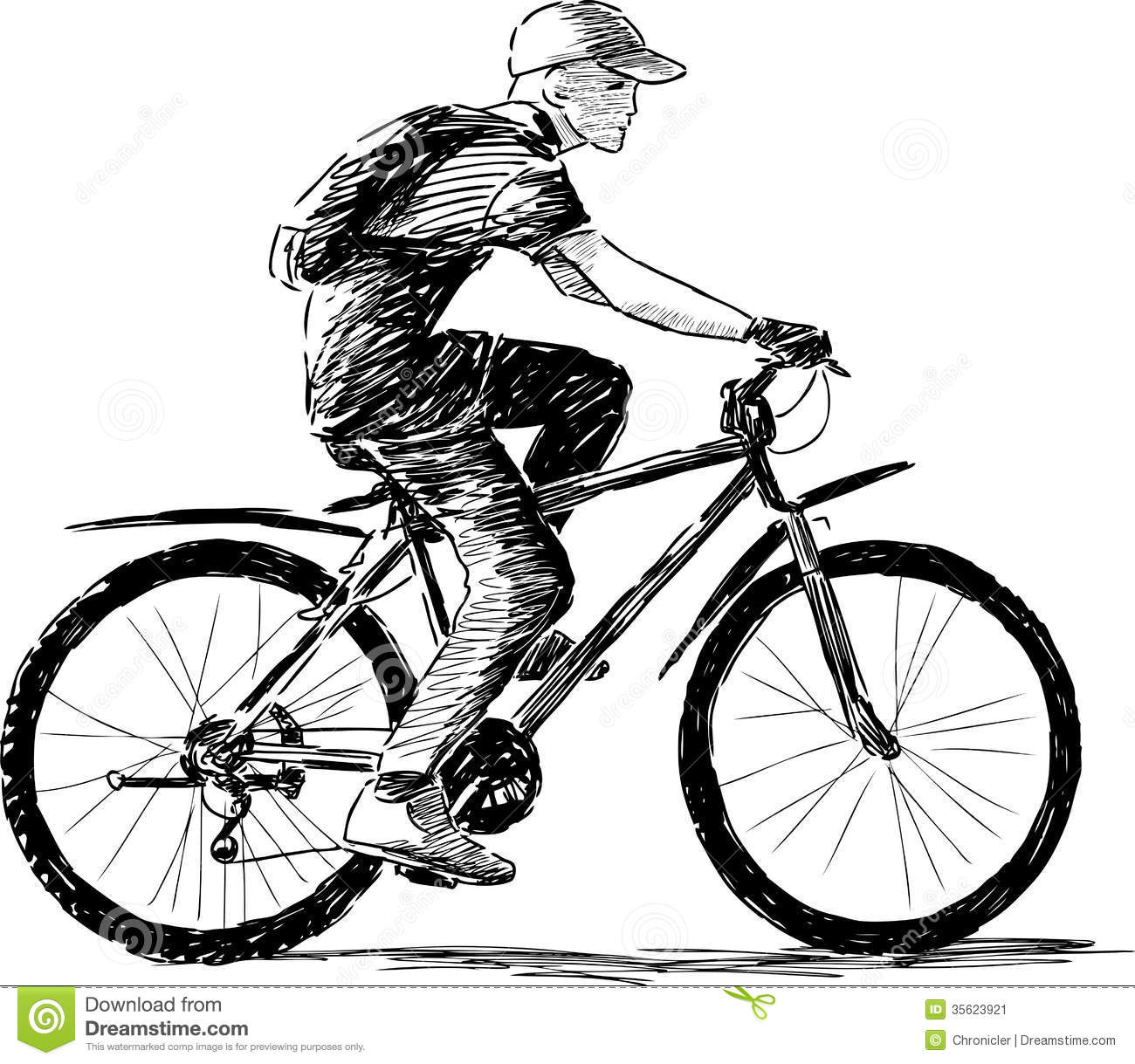 Boy riding a bike stock image. Image of sketch, bicycle ...