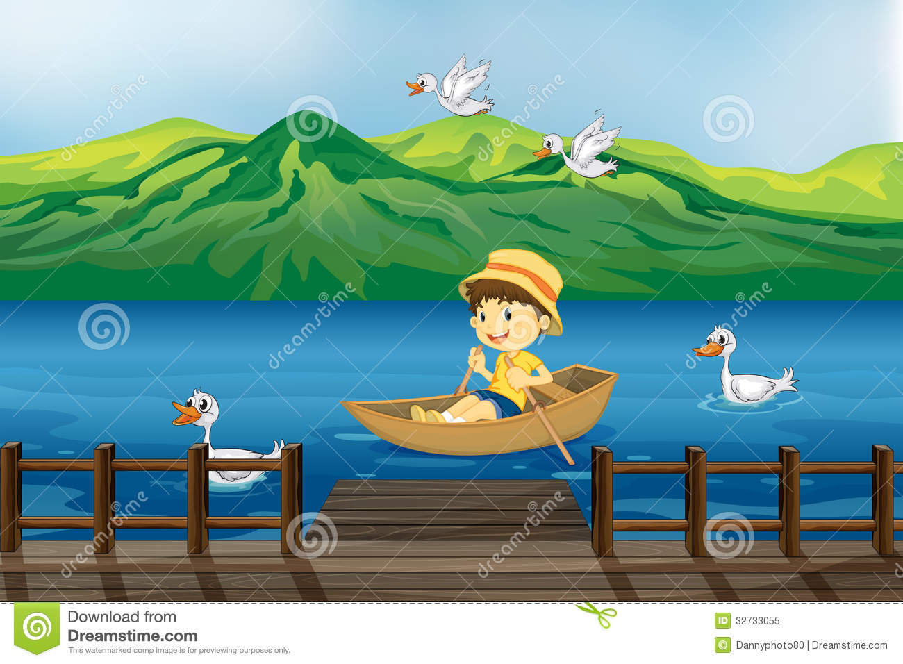 A Boy Riding On A Wooden Boat Stock Vector - Illustration of drawing, child: 32733055