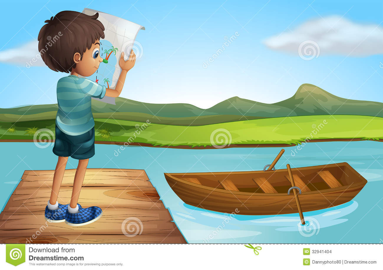 A Boy At The River With A Wooden Boat Stock Images - Image: 32941404