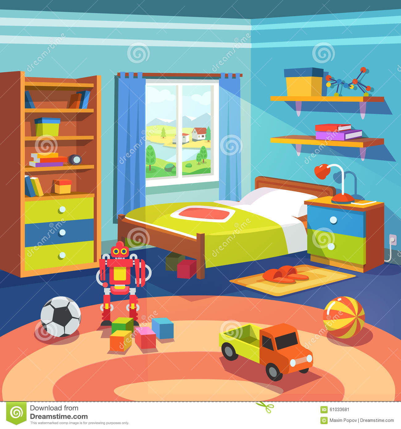 Boy Room With Bed Cupboard And Toys On The Floor Stock Vector Image 61033681