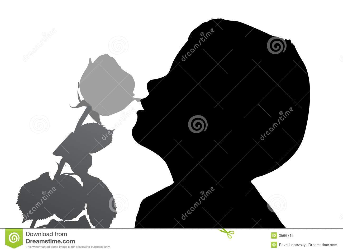 Boy with rose silhouette