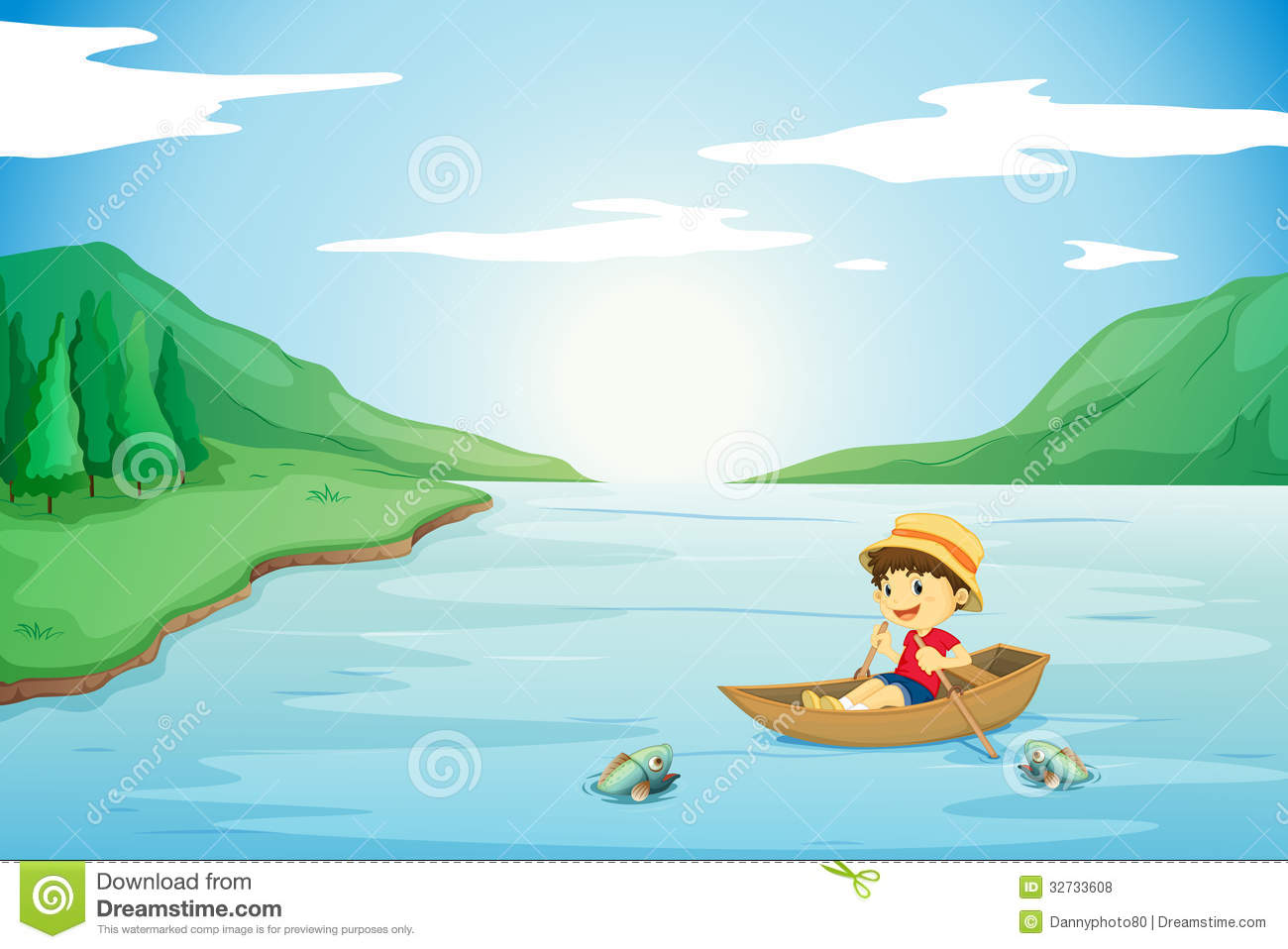 A Boy Rowing In A Boat Royalty Free Stock Photos - Image: 32733608