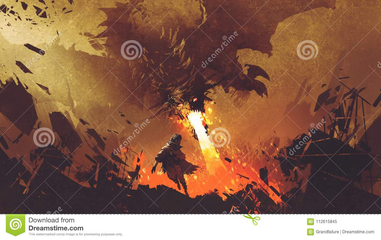 Boy running away from the fire dragon