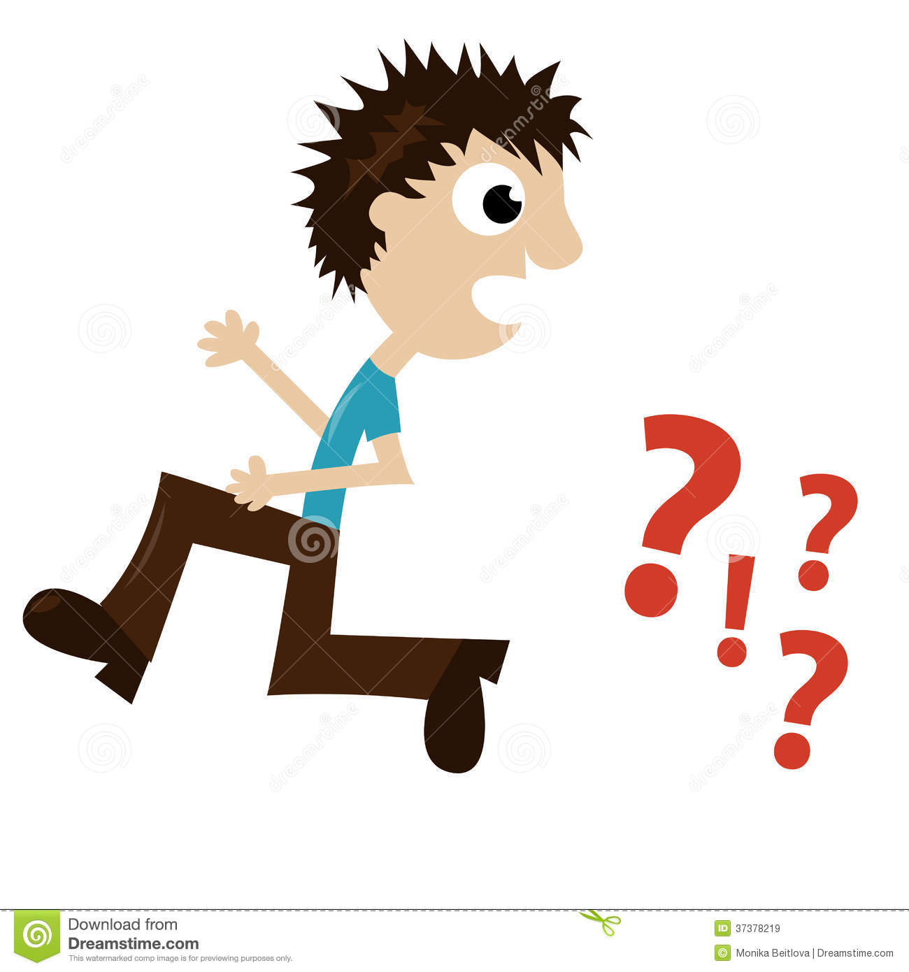 boy running away from question marks royalty free stock