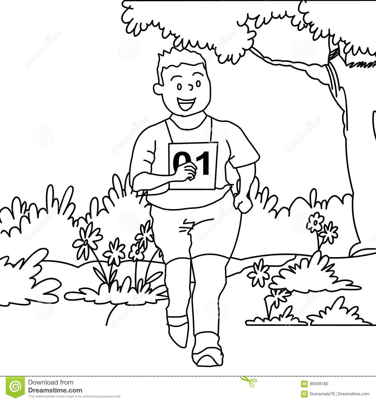 Download Boy Running Coloring Page Stock Illustration Of Childhood