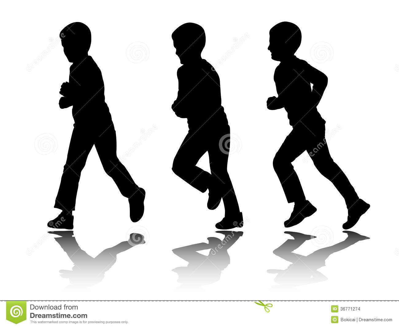 Boy Running Silhouettes Stock Images - Image: 36771274