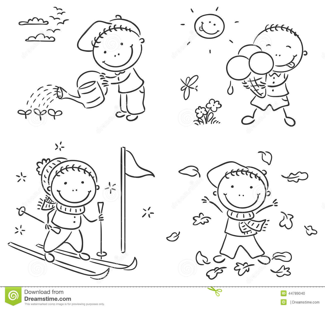 Boys Activities During The Four Seasons Stock Vector