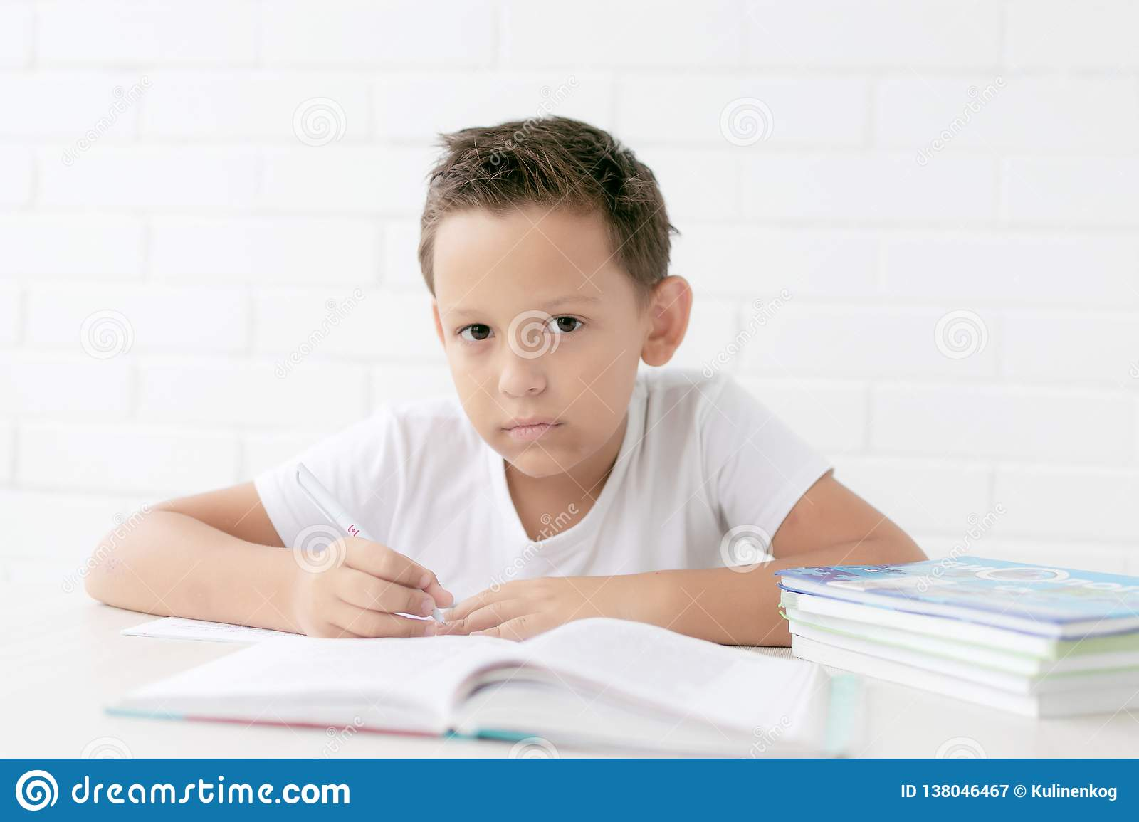 Boy schoolboy teaches lessons writing in notebook and reading books