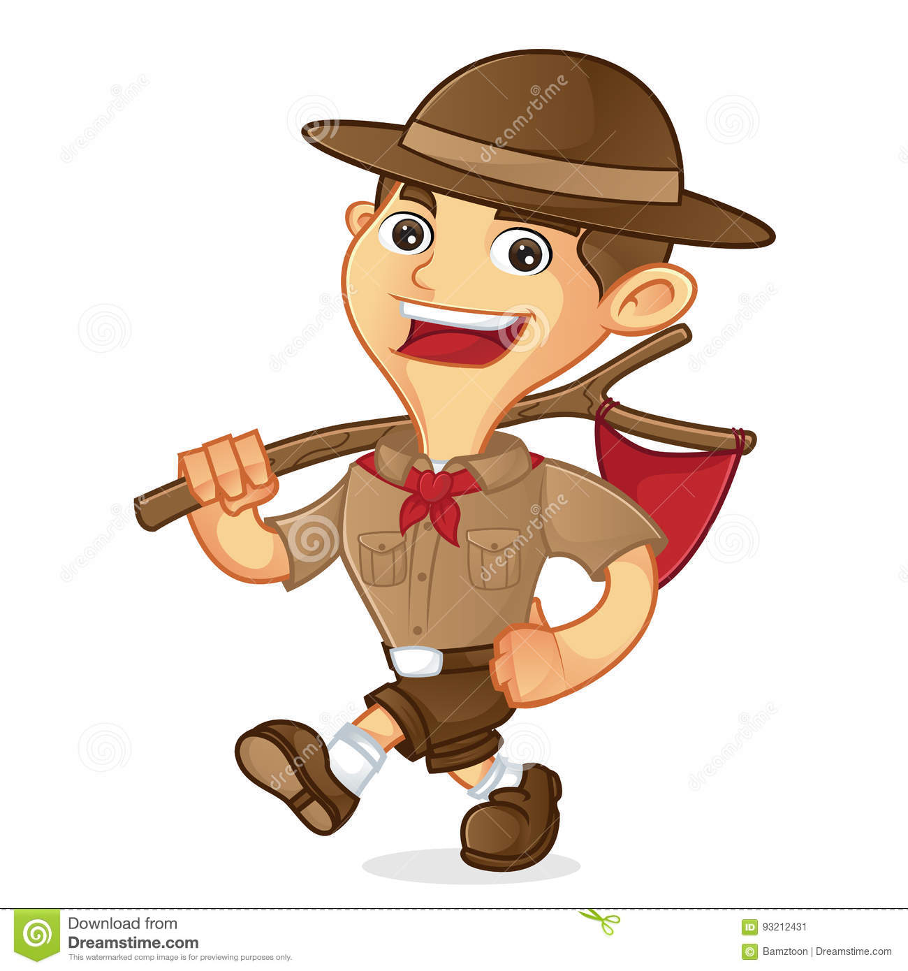 Boy scout cartoon walking and carrying flag stock vector