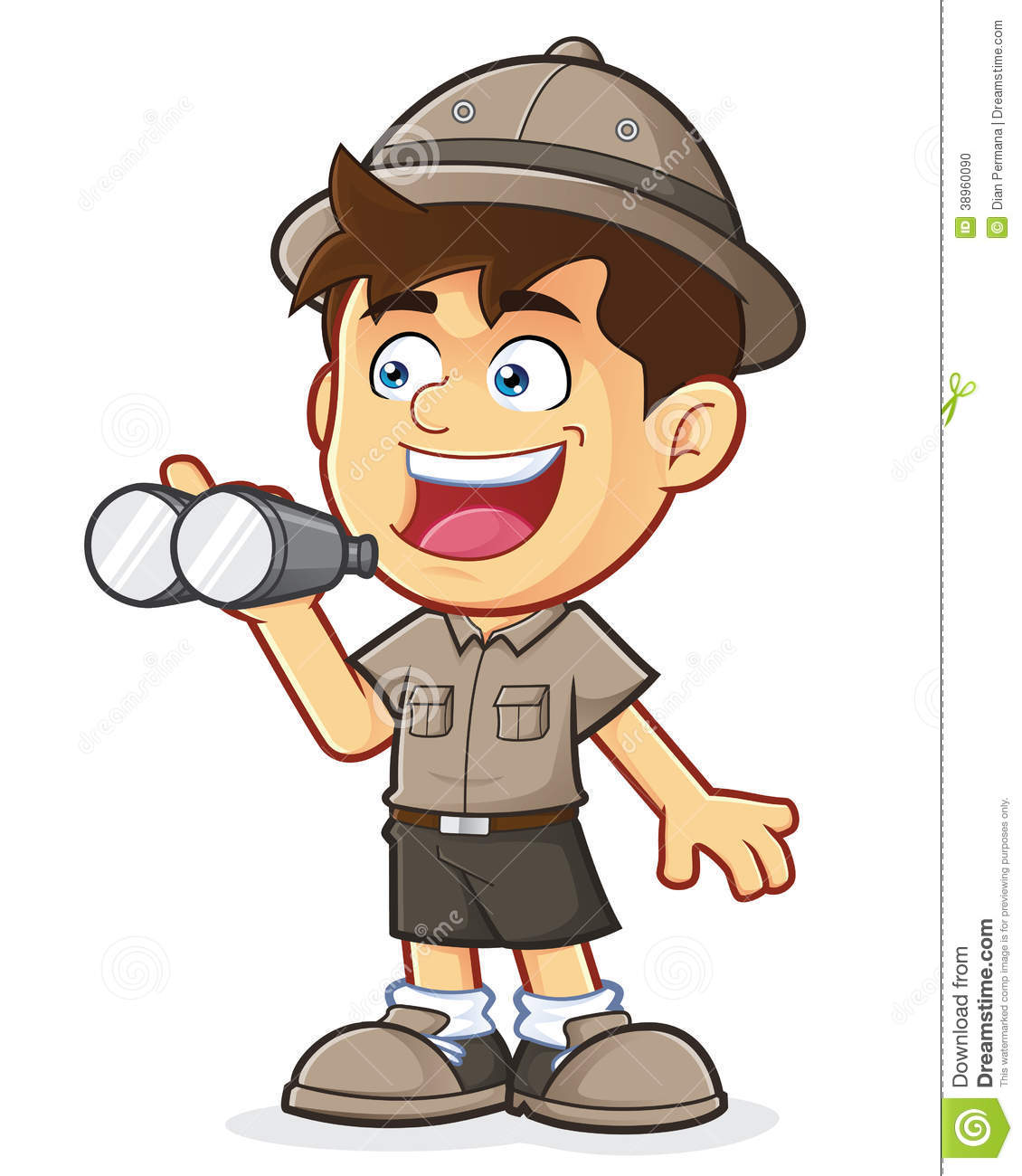 Boy Scout Or Explorer Boy With Binoculars Stock Vector - Image ...
