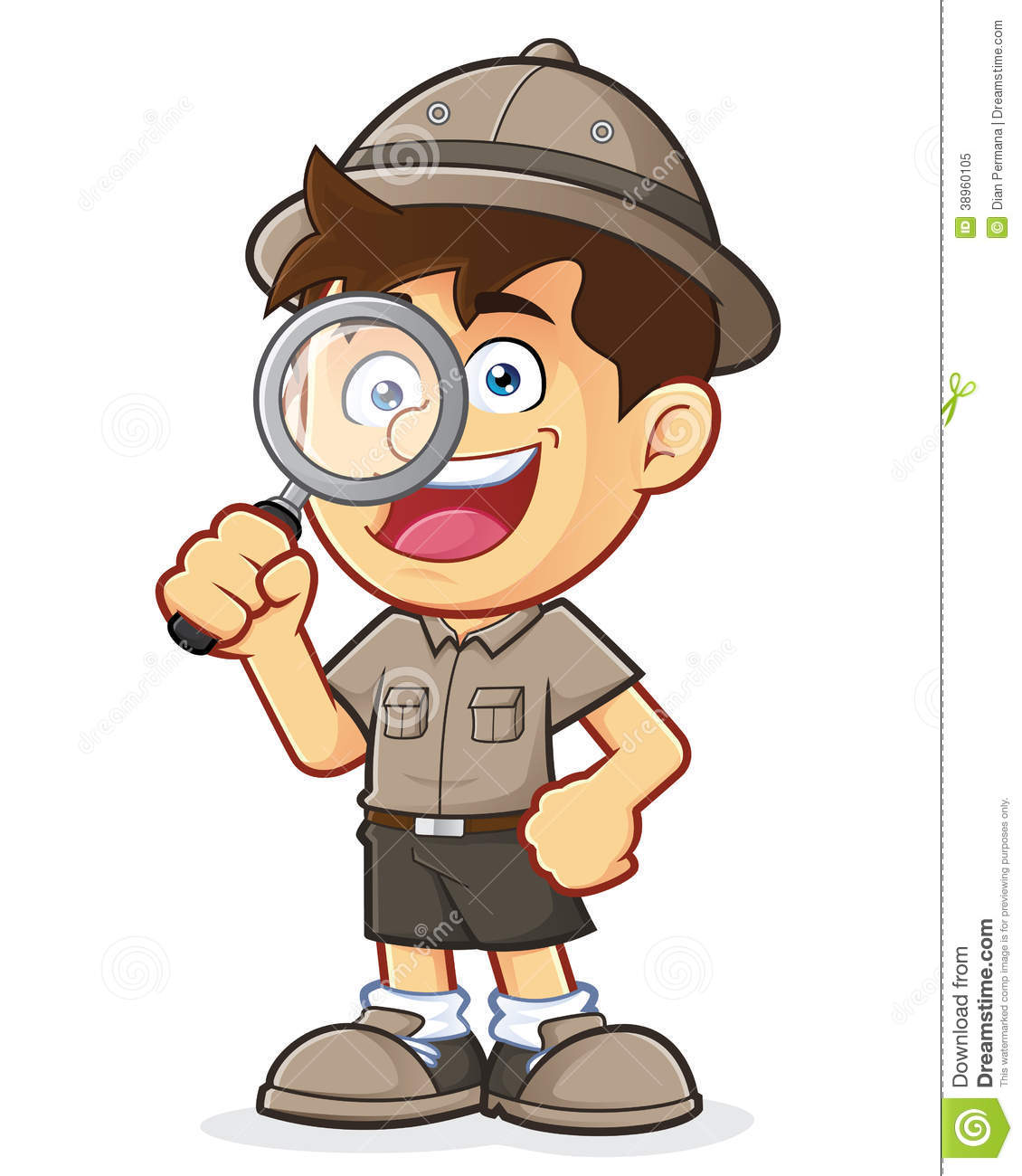Boy Scout Or Explorer Boy With Magnifying Glass Stock Vector - Image ...