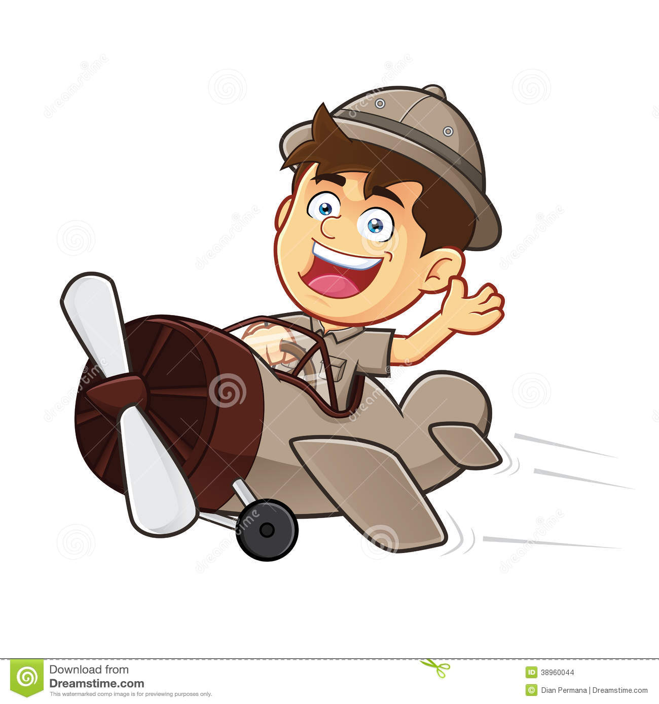boy scout or explorer boy riding airplane stock vector image