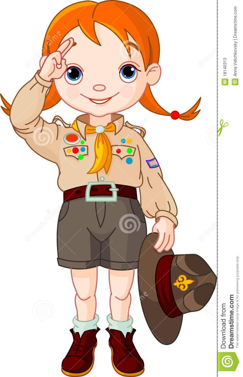 Boy Scout Girl Doing A Hand Sign Stock Vector Illustration Of