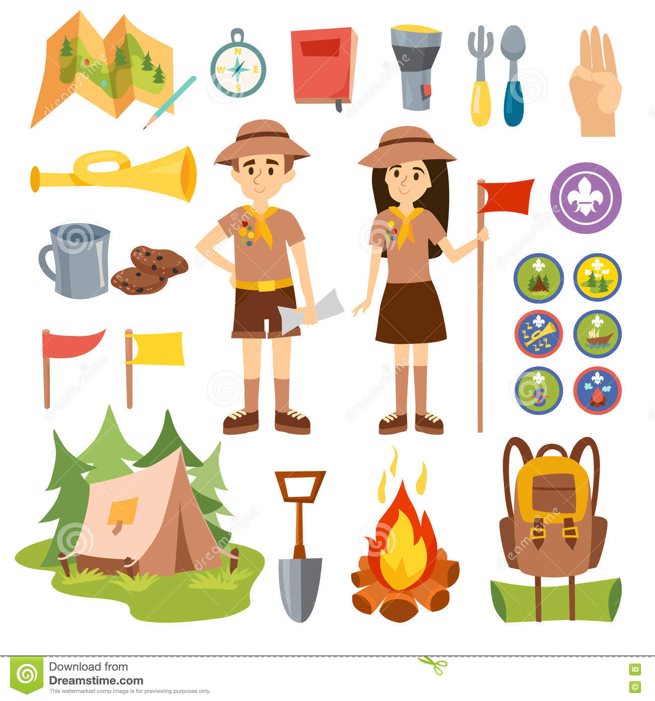 Boy Scouts And Camping Vector Set Stock Vector Illustration Of