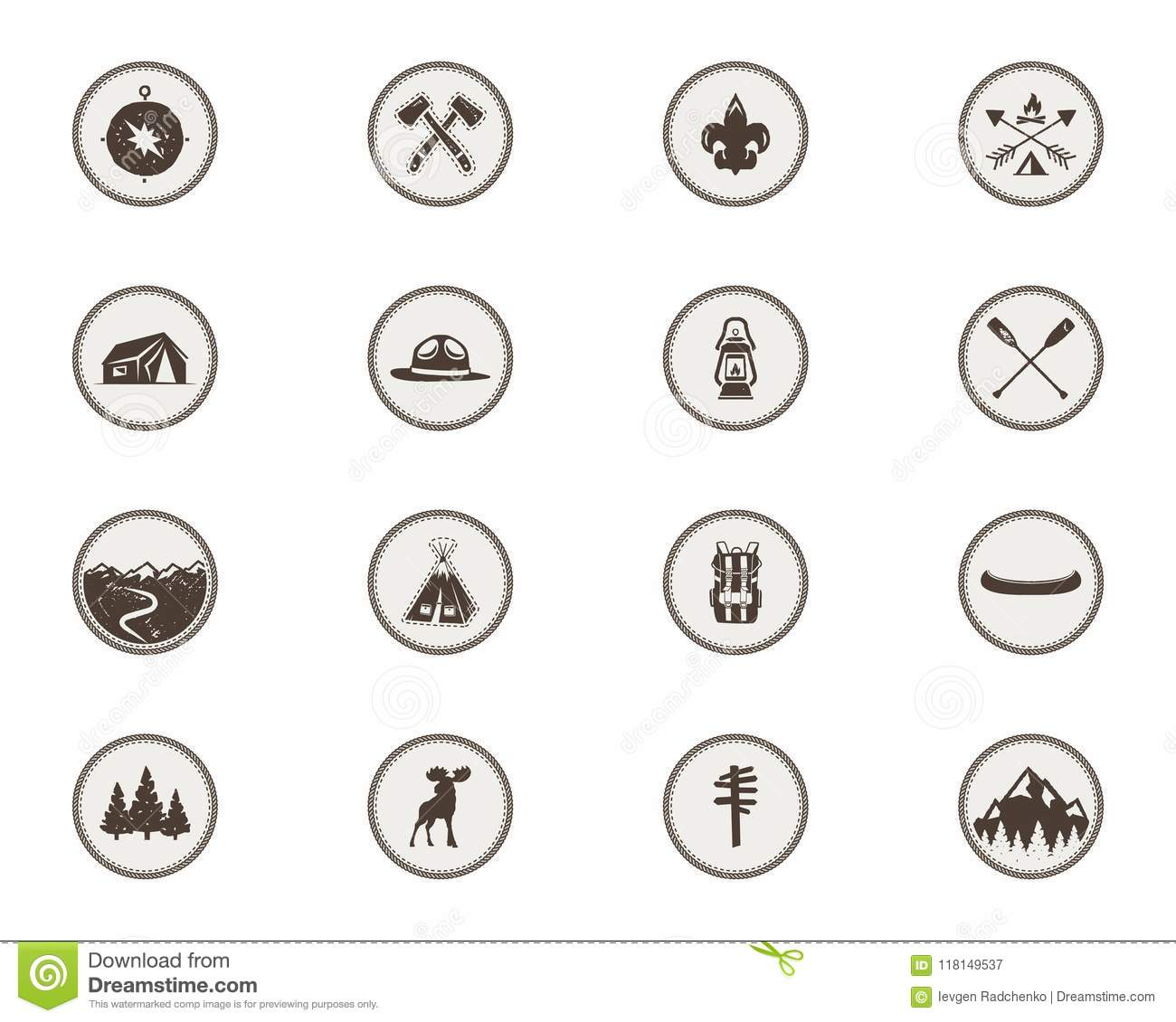 Boy Scouts Icons Patches The Full Bundle Camping Stickers Tent