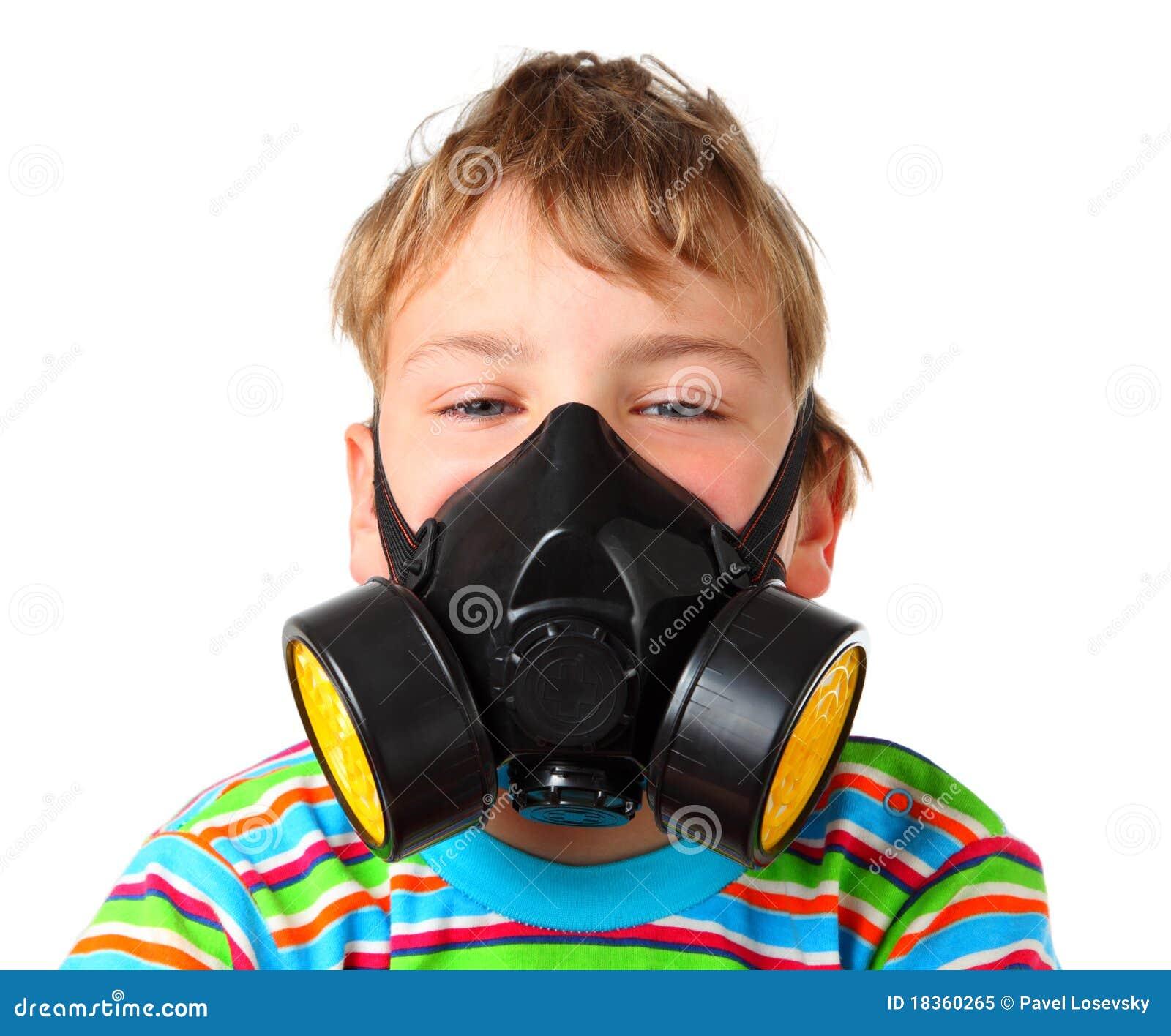 Boy up ones eyes in black respirator