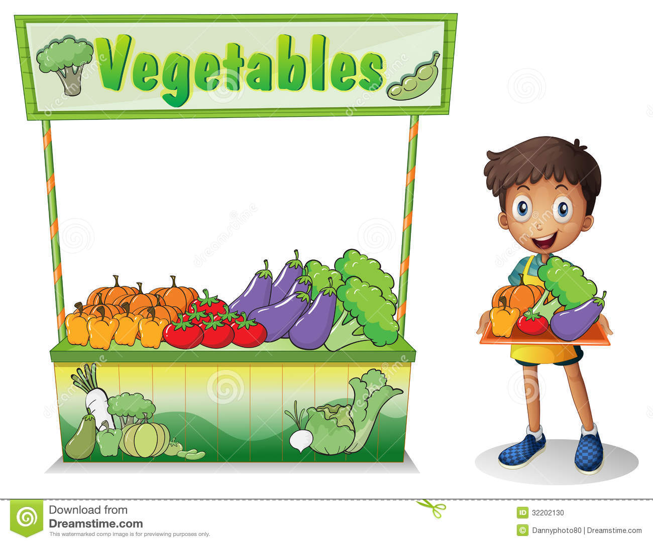A boy selling vegetables stock vector. Illustration of ...