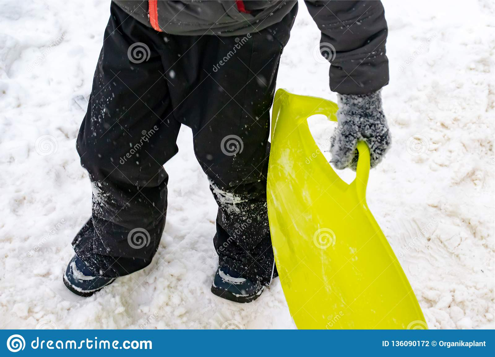 A boy of seven years old holding a green plastic sled in his hand. Concept of winter activities, recreation and children`s