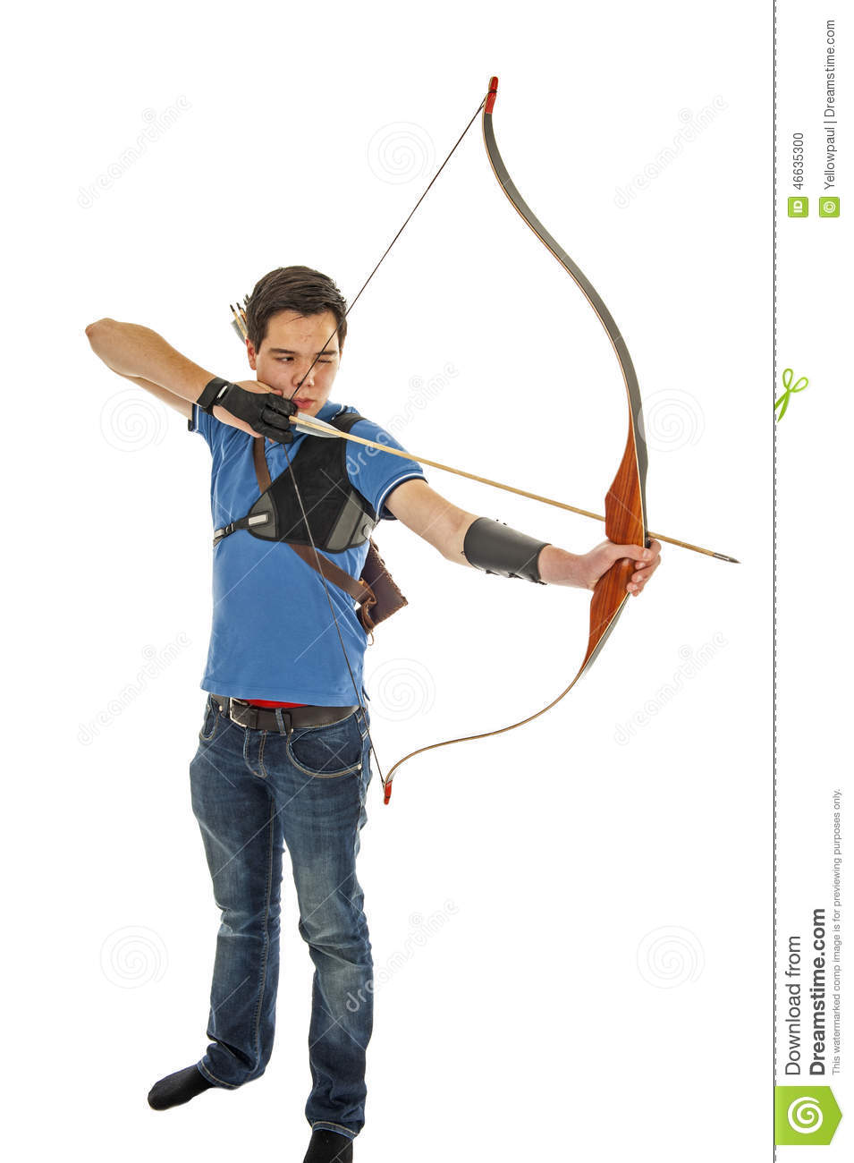Young Man In Black Shirt Holding Bow And Shooting To Target ...