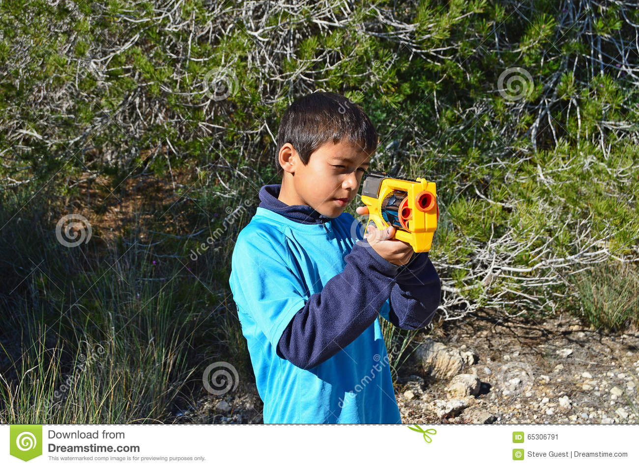 Boy Shooting A Toy Nerf Gun Stock Image Image Of Firearm Paint