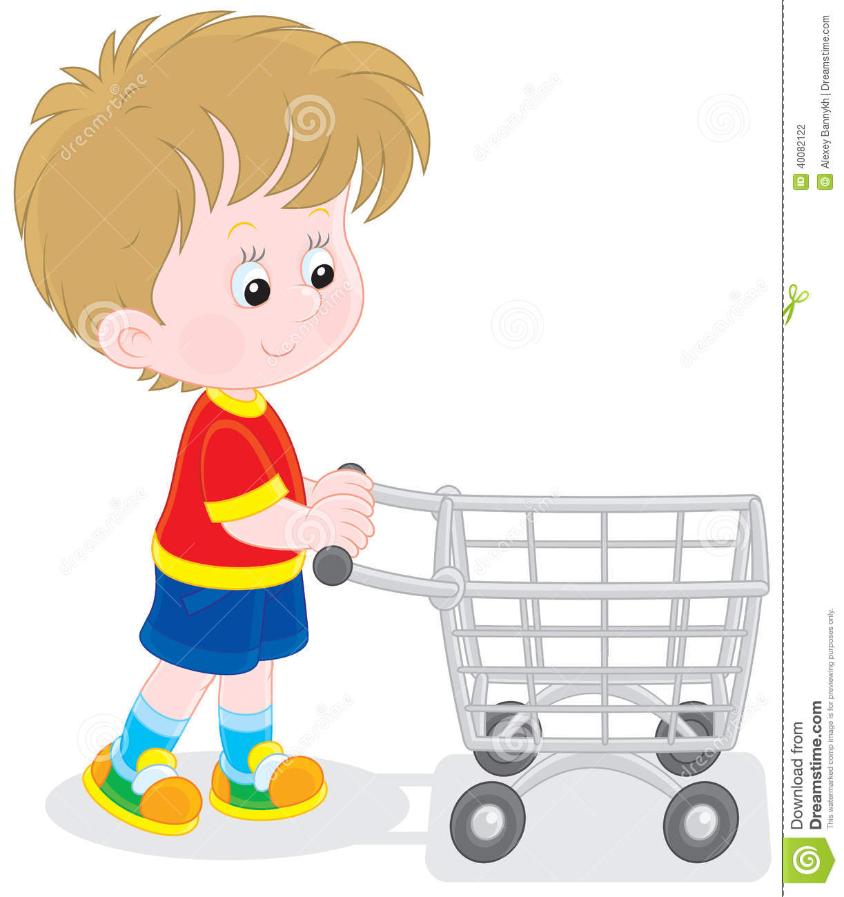 Little buyer going with a supermarket trolley to do shopping.
