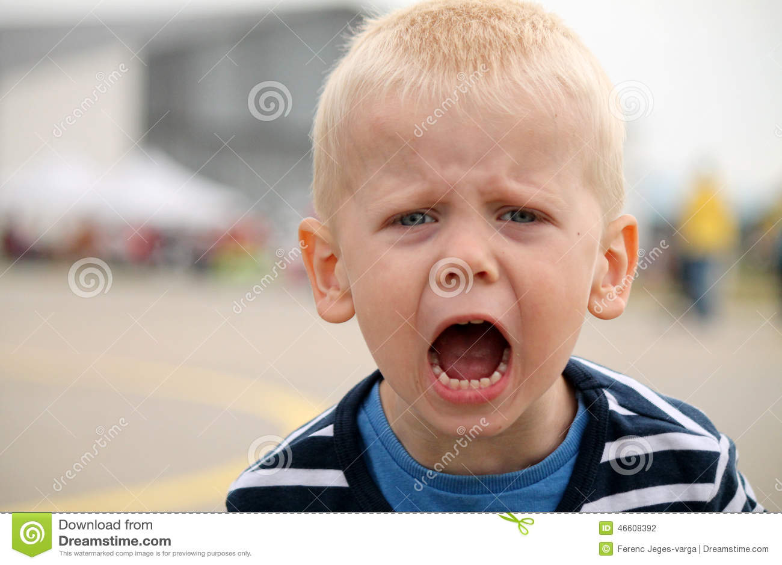Boy is shouting
