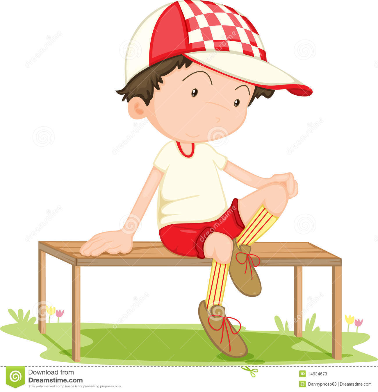 A Boy Sitting on Bench stock vector. Illustration of ...
