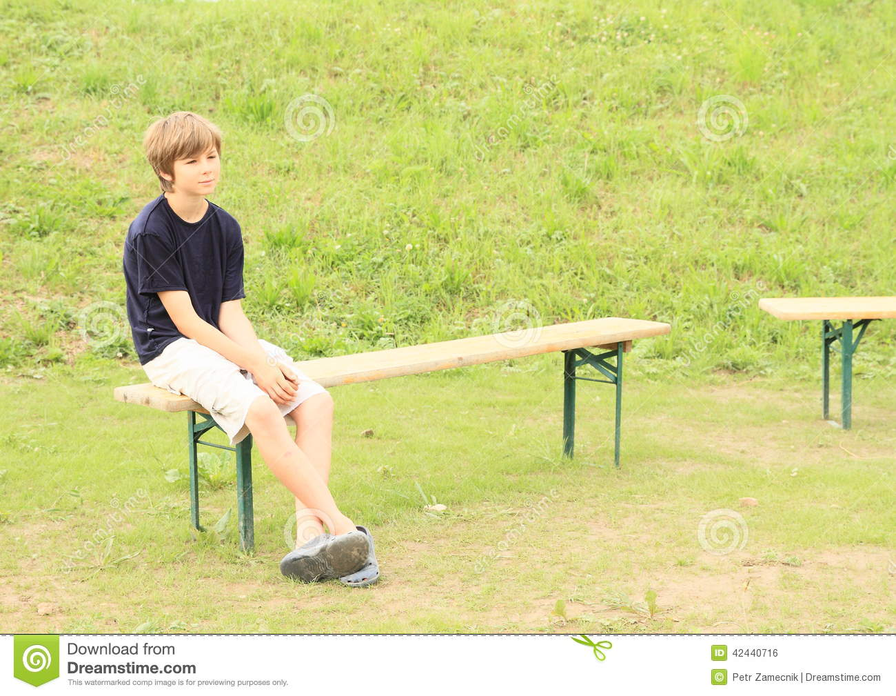 Boy Sitting On Bench Stock Photo Image Of Dreaming Rest 42440716