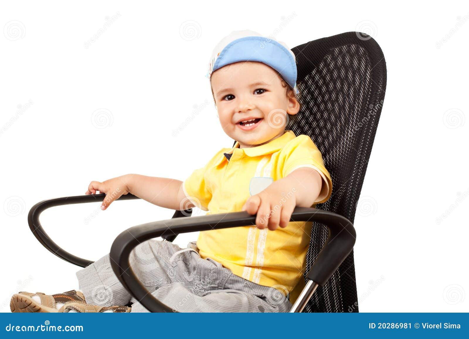 Black child sitting in chair - Boy Chair Little Sitting White Face Child