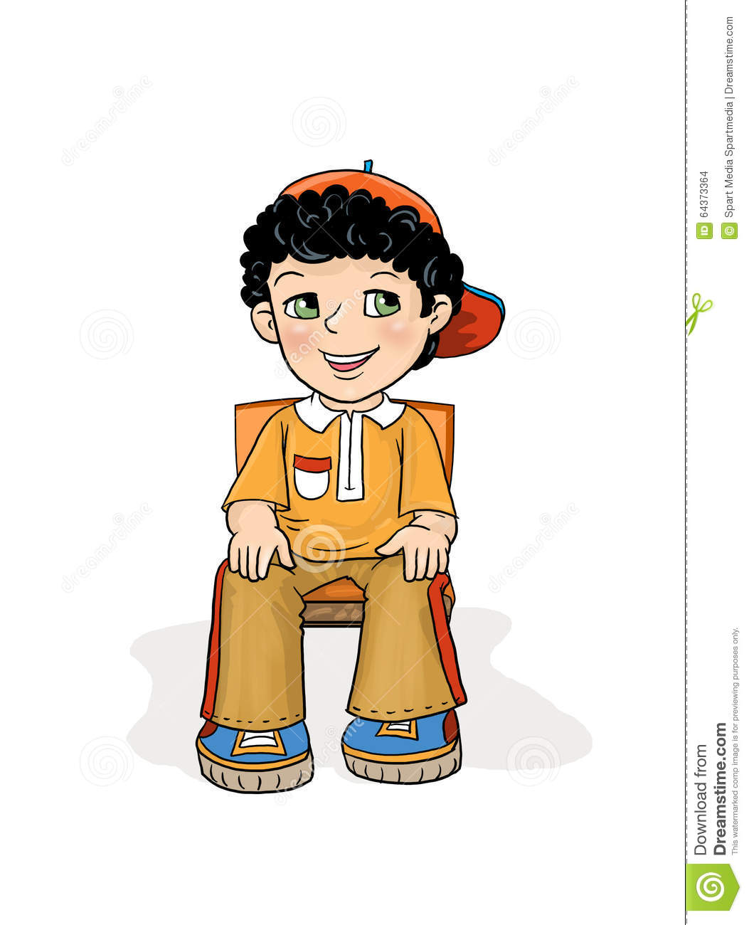 Exam boy sitting stock illustration image of hands floor for Child on chair