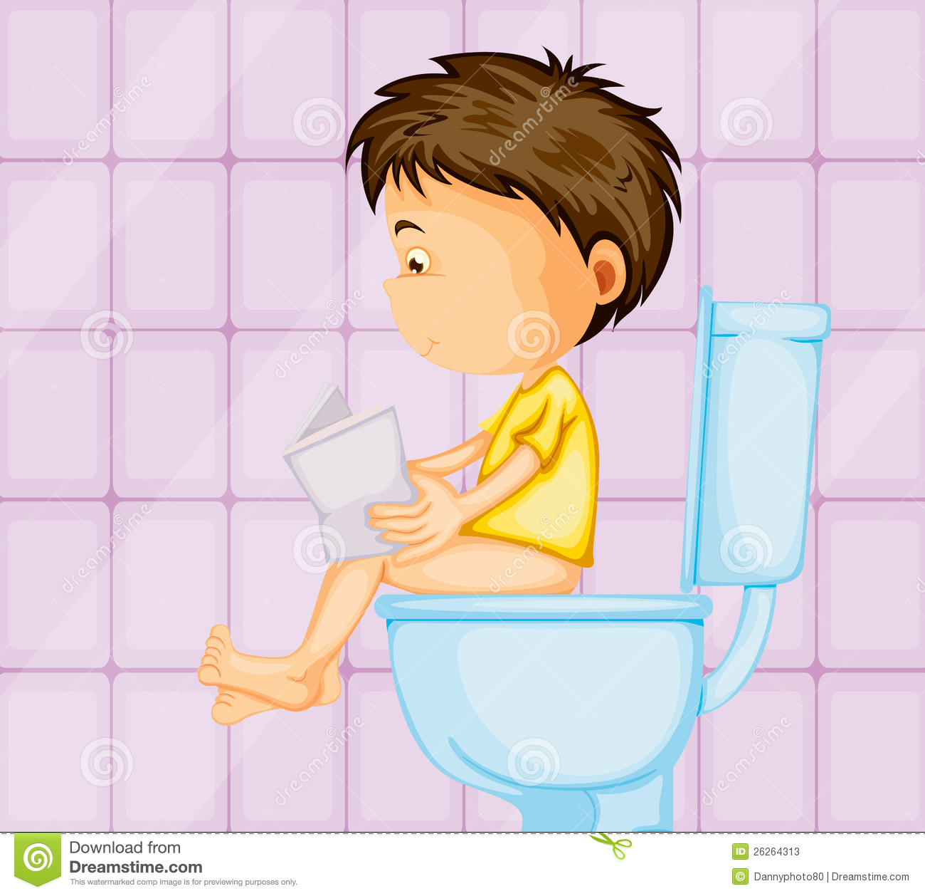 A Boy Sitting On Commode Stock Photos - Image: 26264313