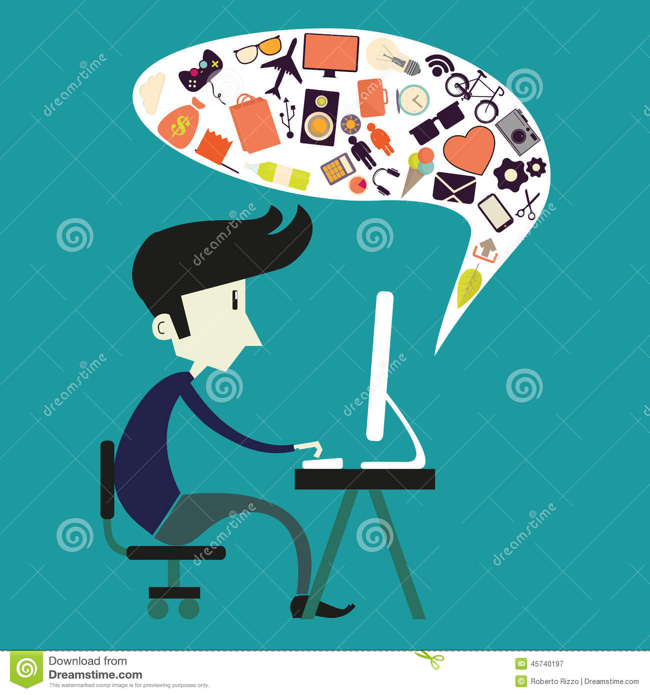 Boy and computer stock vector. Illustration of adorable