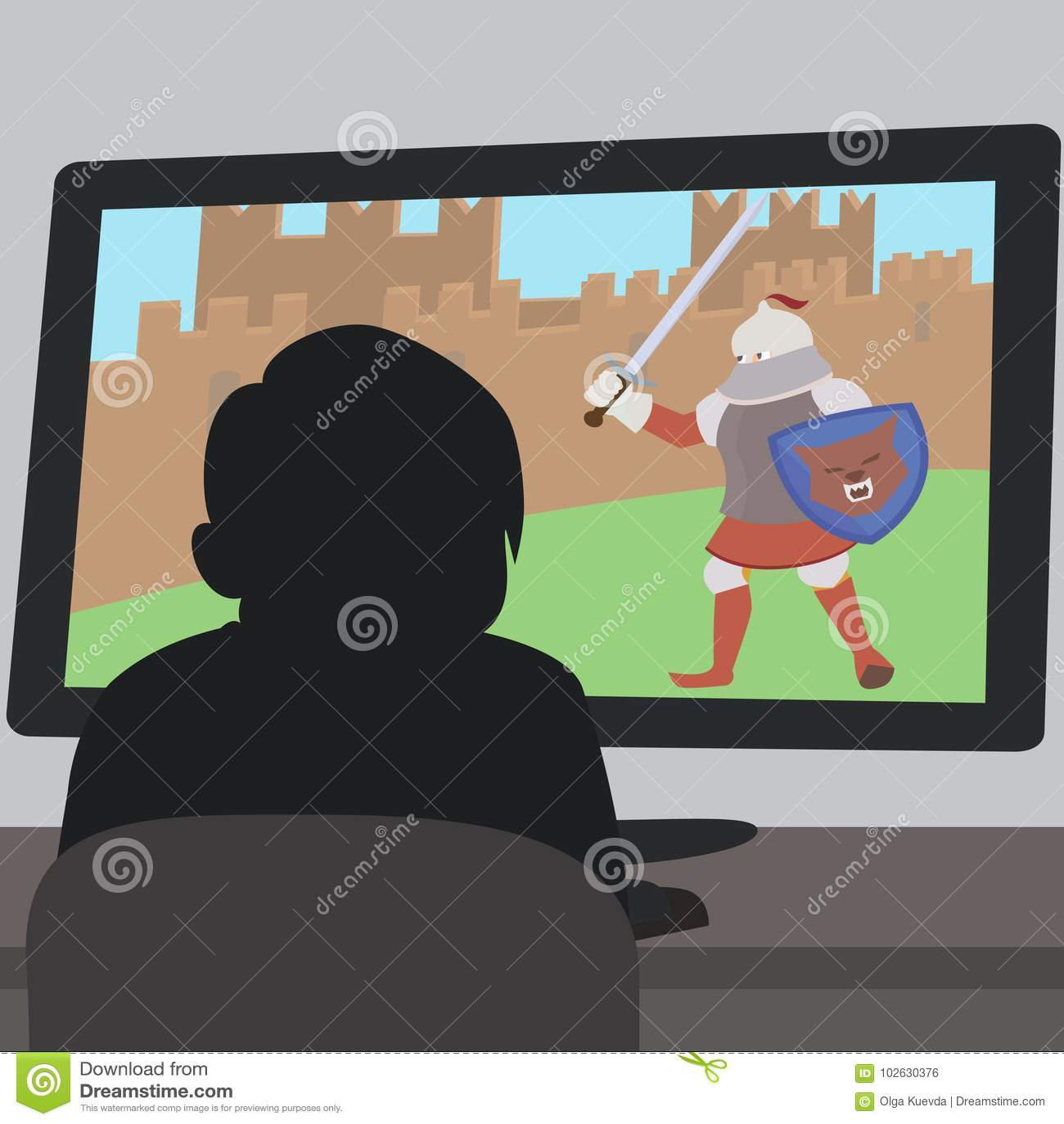 Schoolboy using Laptop stock vector. Illustration of blue