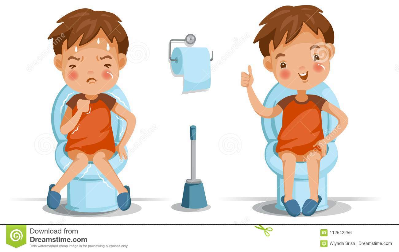 Children toilet seat stock vector illustration of cartoon - How to use the bathroom when constipated ...