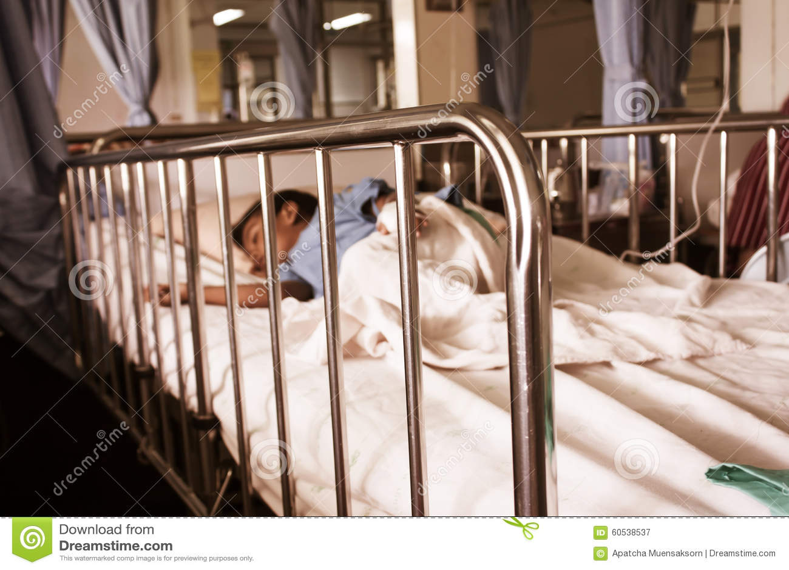 Boy Sleep On The Bed,little Boy Sick In The Hospital Stock ...
