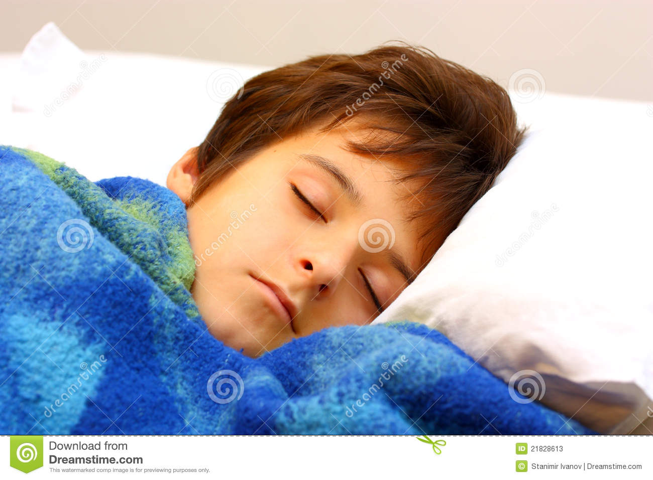 A Boy Sleeping Stock Image Image Of Blanket Model