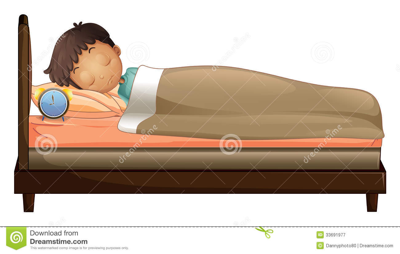 A Boy Sleeping With An Alarm Clock Royalty Free Stock