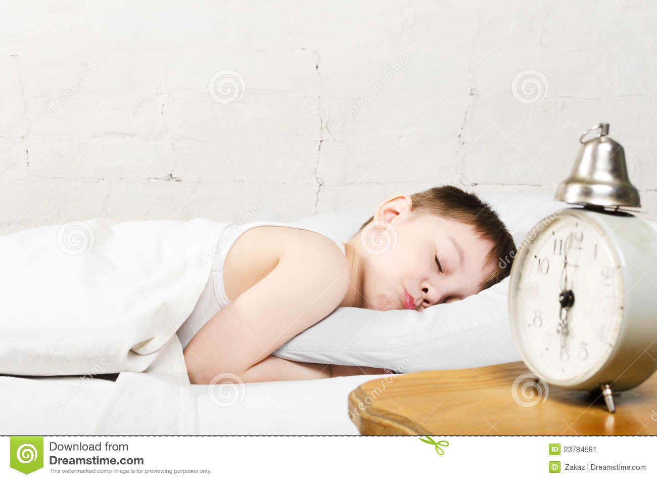 Boy Sleeping In Bed Stock Image - Image: 23784581