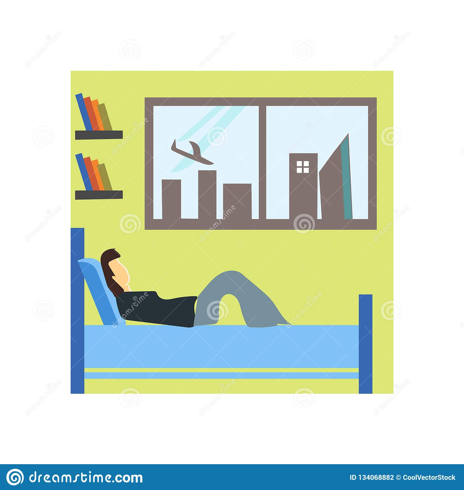 Boy Sleeping In The Bed Vector Vector Sign And Symbol Isolated On