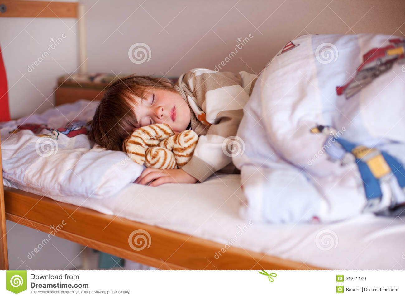 Boy sleeping on bunk bed stock image image of campsite for Sleeping bed