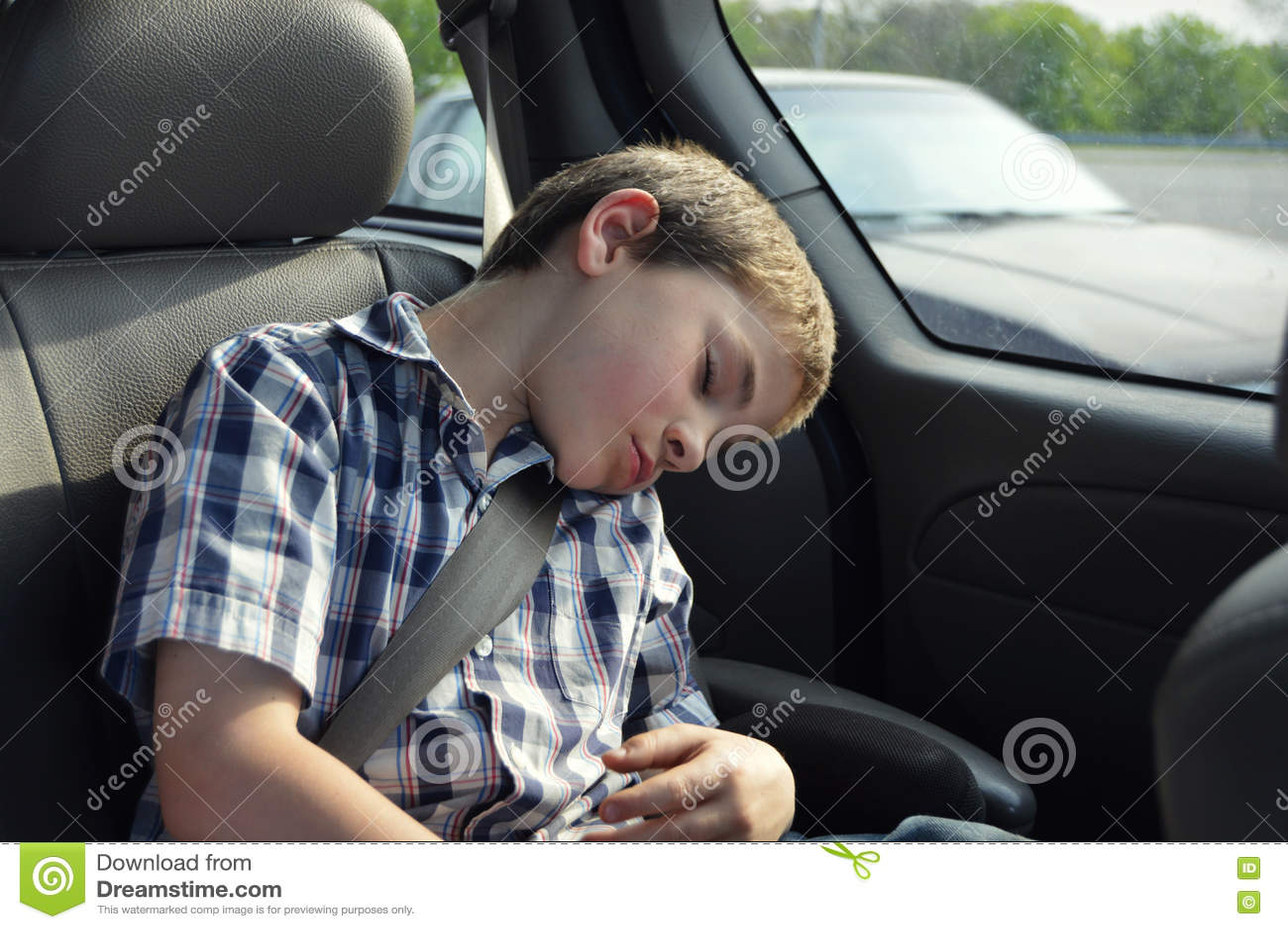 Boy Sleeping In Car Stock Photo Image 71372751