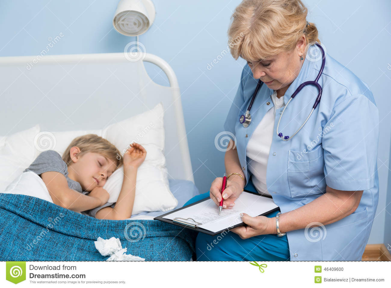 boy sleeping in hospital bed stock photo image 46409600. Black Bedroom Furniture Sets. Home Design Ideas