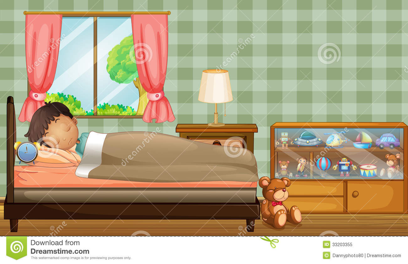 A Boy Sleeping Soundly Inside His Room Royalty Free Stock