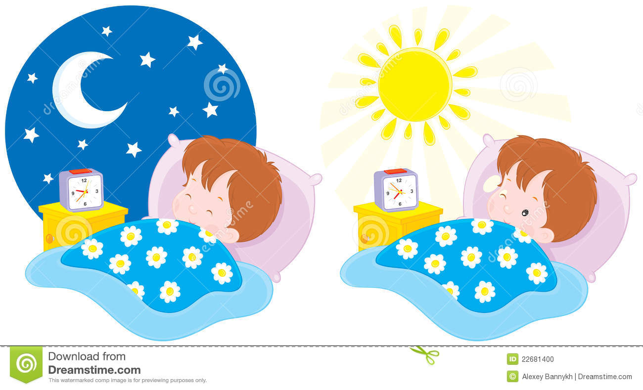 Vector clip-art illustrations of a little boy lying in a bed and ...