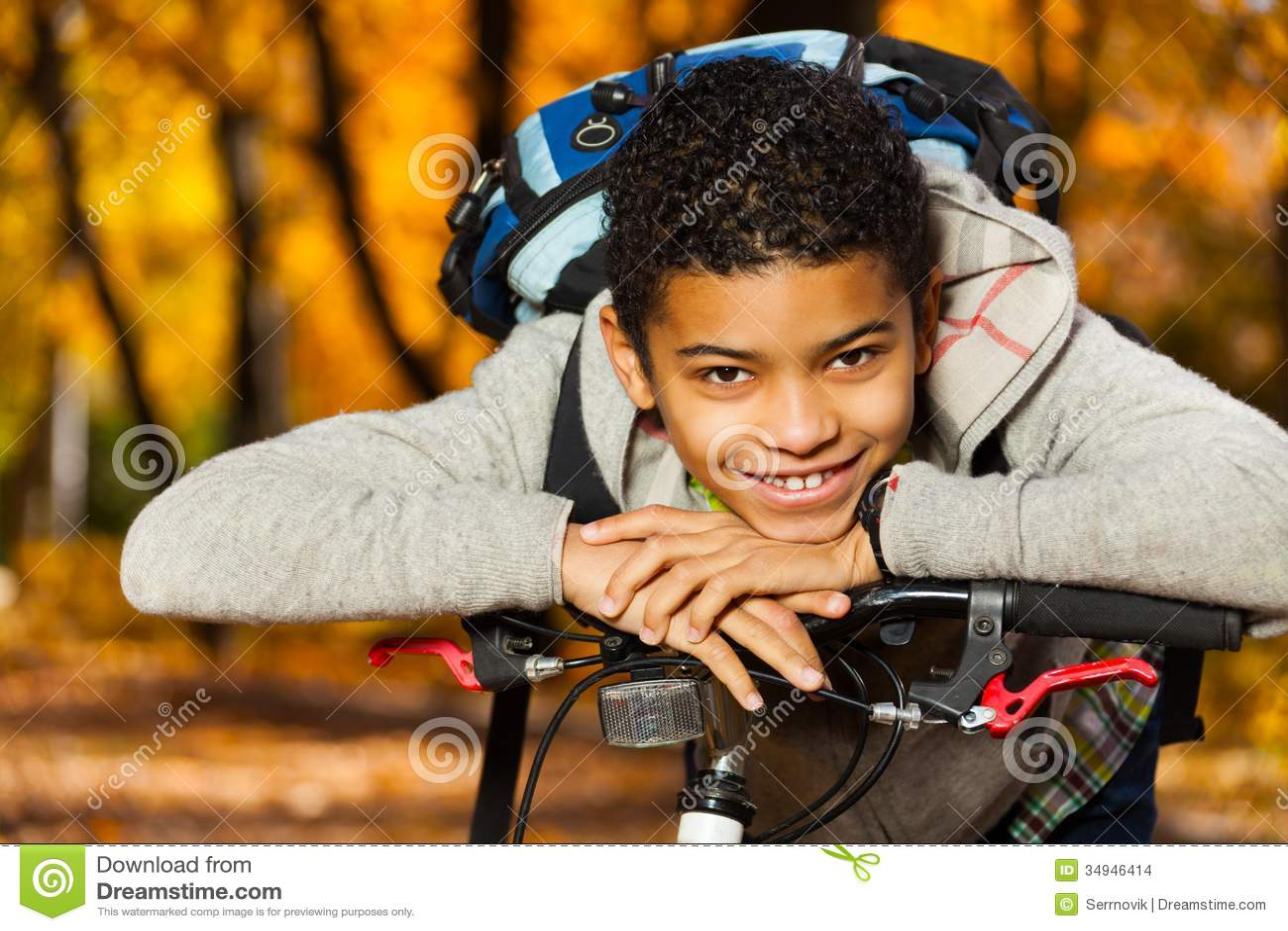 Boy Smile Laying On Bike Stern Stock Images Image 34946414